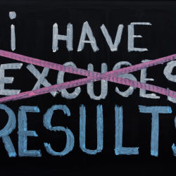 The word excuses is crossed out and replaced with results