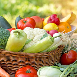 Organic, healthy food in a basket on a table