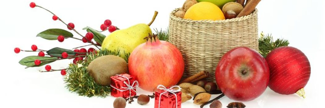 Festive fruits displayed for the holidays