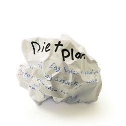 Crumpled up piece of paper for a diet plan