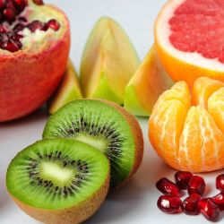 Colorful fruits on a white table