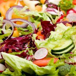 a closeup of a colorful salad