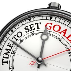 A clock saying time to set goals against a white background for goal setting concept