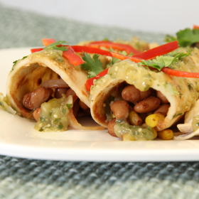 Bean enchiladas with tomatillo sauce 280x280