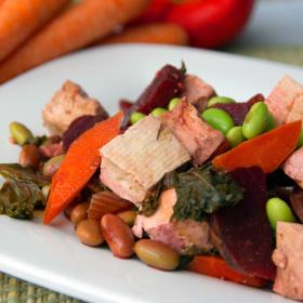Beet edamame and quinoa stir fry 280x280