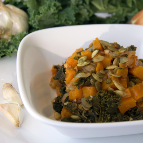 Braised kale and squash with pumpkin seeds 280x280