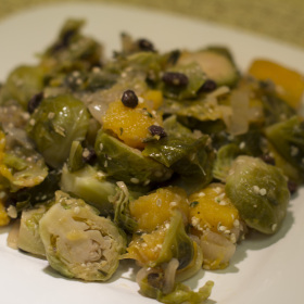 Brussel sprout leaves with shallots and dried currants 280x280