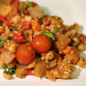Moroccan spiced eggplant and chickpeas 280x280