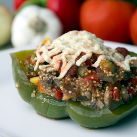 Stuffed peppers with quinoa eggplant and basil 280x280