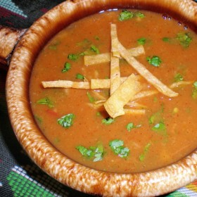 Tortilla soup with crispy tortilla strips 280x280